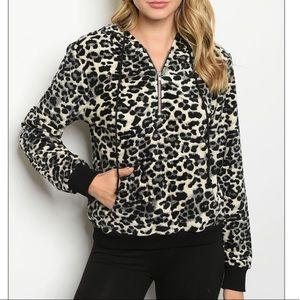 Cream & black leopard print pullover hoodie, CUTE!